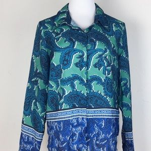 Charlie Jade paisley green blue button down blouse